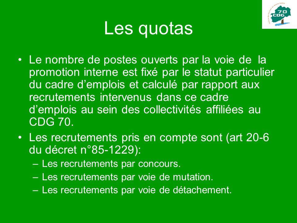 Les quotas Le nombre de postes ouverts par la voie de la promotion interne est fixé par le statut particulier du cadre demplois et calculé par rapport