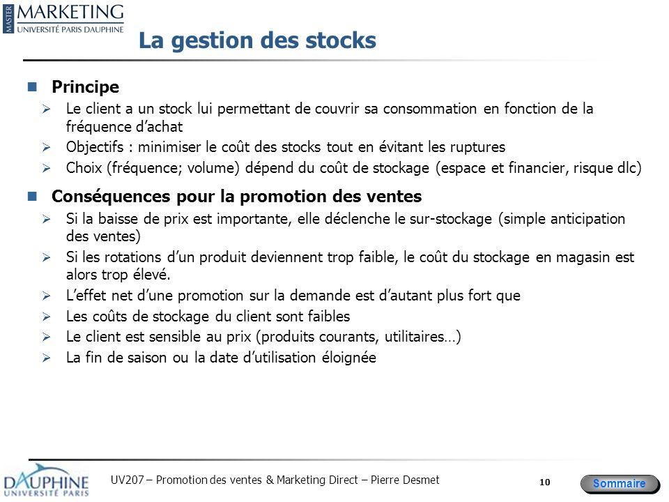 Sommaire UV207 – Promotion des ventes & Marketing Direct – Pierre Desmet La gestion des stocks Principe Le client a un stock lui permettant de couvrir