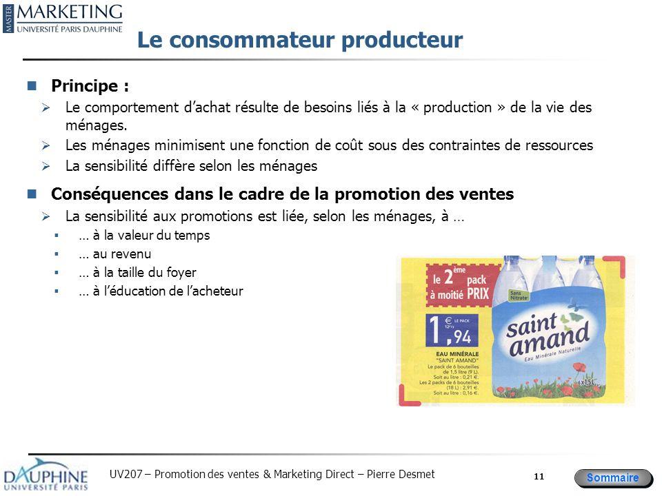 Sommaire UV207 – Promotion des ventes & Marketing Direct – Pierre Desmet Le consommateur producteur Principe : Le comportement dachat résulte de besoi