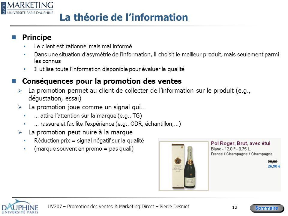 Sommaire UV207 – Promotion des ventes & Marketing Direct – Pierre Desmet La théorie de linformation Principe Le client est rationnel mais mal informé