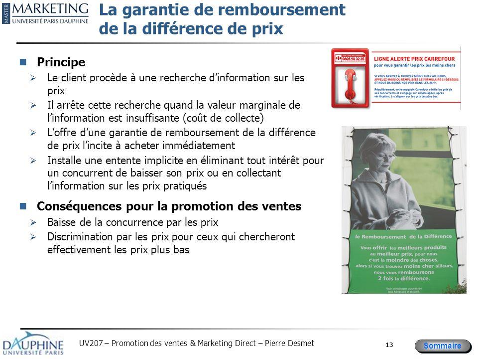 Sommaire UV207 – Promotion des ventes & Marketing Direct – Pierre Desmet La garantie de remboursement de la différence de prix Principe Le client proc