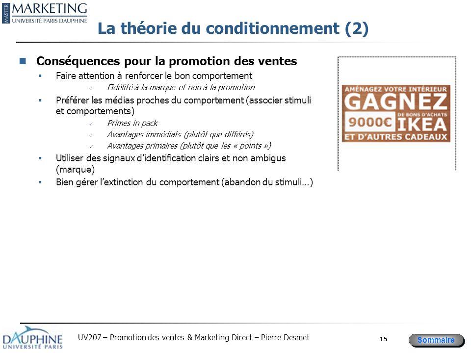 Sommaire UV207 – Promotion des ventes & Marketing Direct – Pierre Desmet La théorie du conditionnement (2) Conséquences pour la promotion des ventes F
