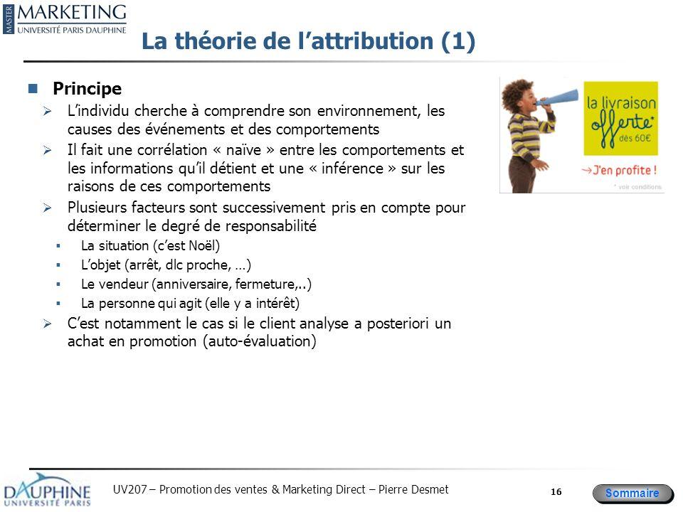 Sommaire UV207 – Promotion des ventes & Marketing Direct – Pierre Desmet La théorie de lattribution (1) Principe Lindividu cherche à comprendre son en