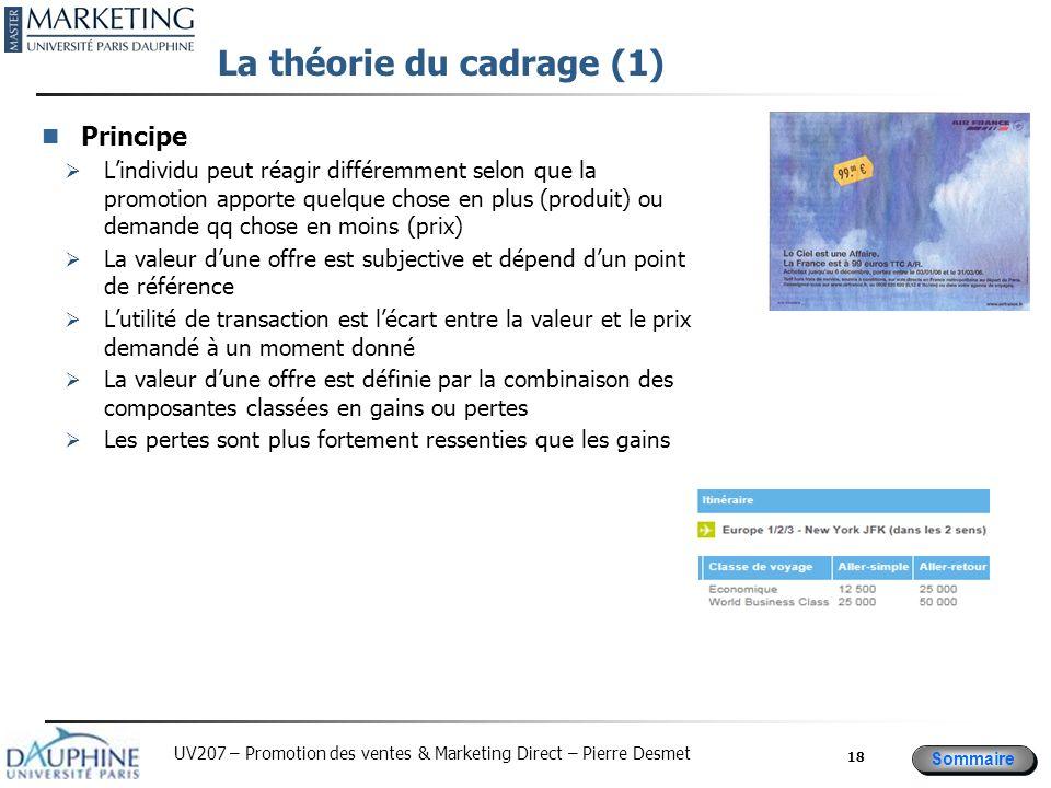 Sommaire UV207 – Promotion des ventes & Marketing Direct – Pierre Desmet La théorie du cadrage (1) Principe Lindividu peut réagir différemment selon q