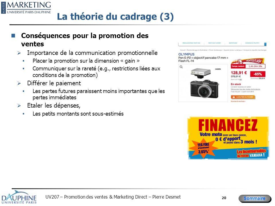 Sommaire UV207 – Promotion des ventes & Marketing Direct – Pierre Desmet La théorie du cadrage (3) Conséquences pour la promotion des ventes Importanc