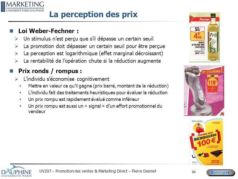 Sommaire UV207 – Promotion des ventes & Marketing Direct – Pierre Desmet La perception des prix Loi Weber-Fechner : Un stimulus nest perçu que sil dép