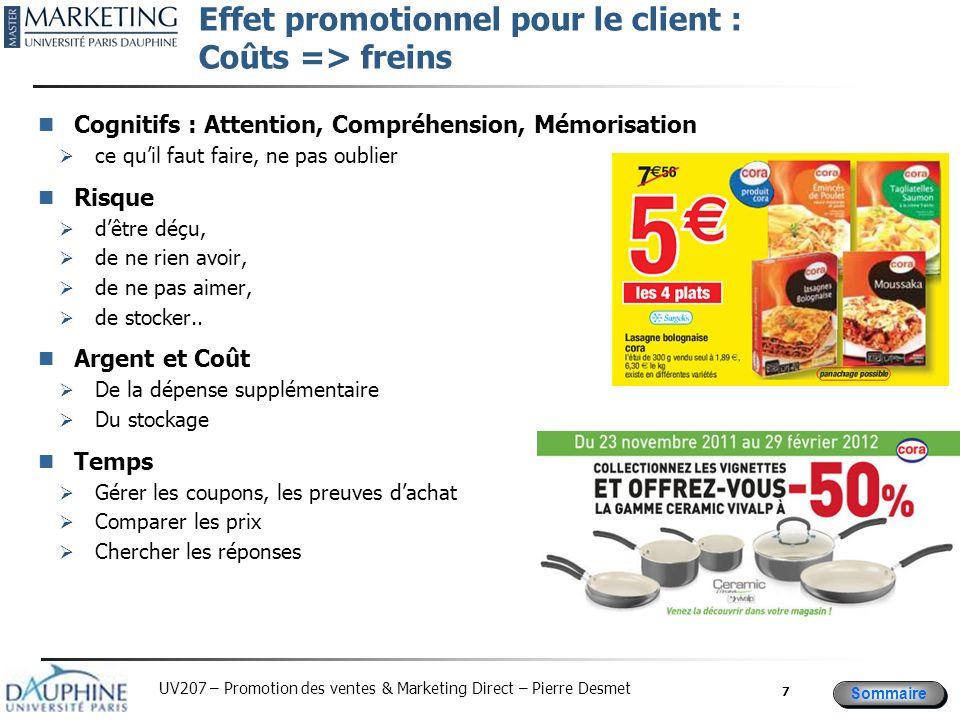 Sommaire UV207 – Promotion des ventes & Marketing Direct – Pierre Desmet Effet promotionnel pour le client : Coûts => freins Cognitifs : Attention, Co