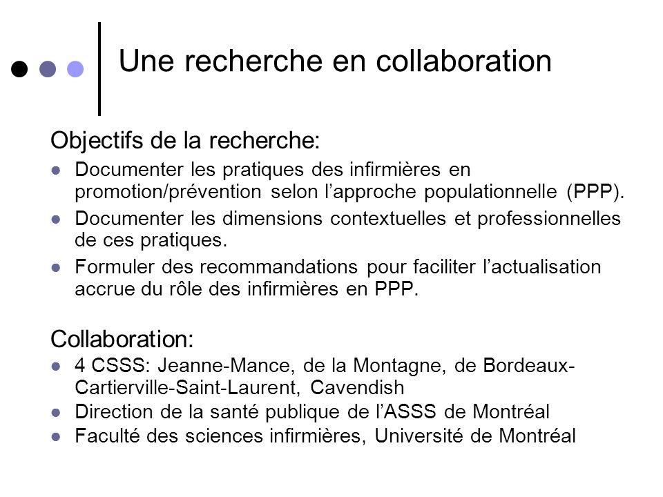 Une recherche en collaboration Objectifs de la recherche: Documenter les pratiques des infirmières en promotion/prévention selon lapproche populationn