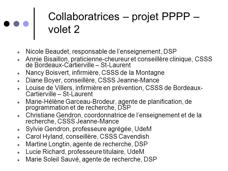 Collaboratrices – projet PPPP – volet 2 Nicole Beaudet, responsable de lenseignement, DSP Annie Bisaillon, praticienne-cheureur et conseillère cliniqu