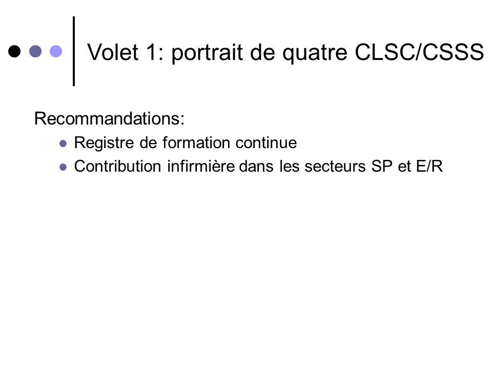 Recommandations: Registre de formation continue Contribution infirmière dans les secteurs SP et E/R Volet 1: portrait de quatre CLSC/CSSS