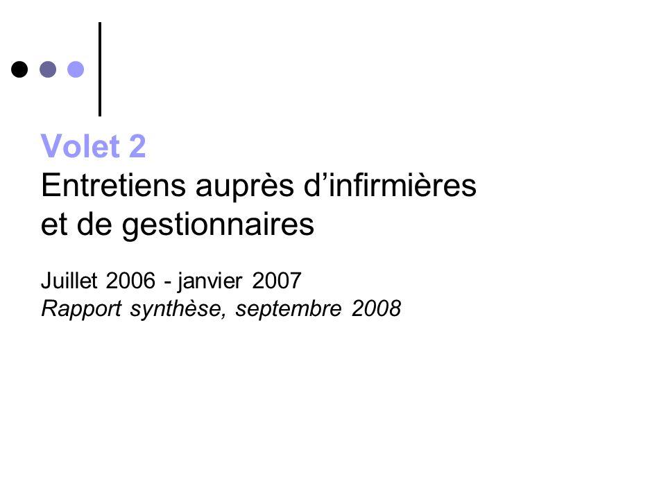 Volet 2 Entretiens auprès dinfirmières et de gestionnaires Juillet 2006 - janvier 2007 Rapport synthèse, septembre 2008