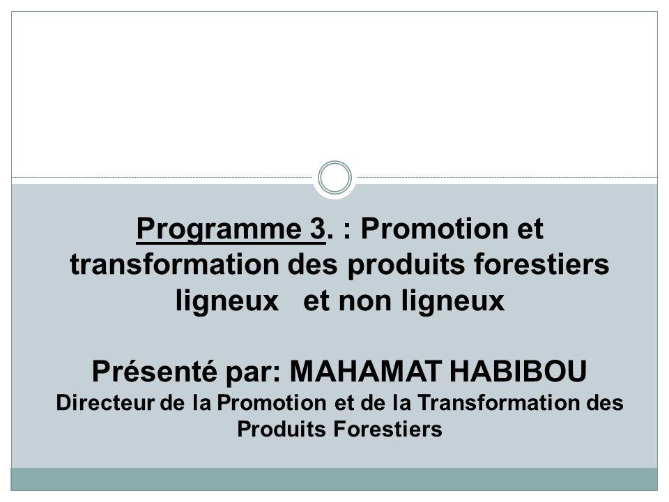 Programme 3. : Promotion et transformation des produits forestiers ligneux et non ligneux Présenté par: MAHAMAT HABIBOU Directeur de la Promotion et d