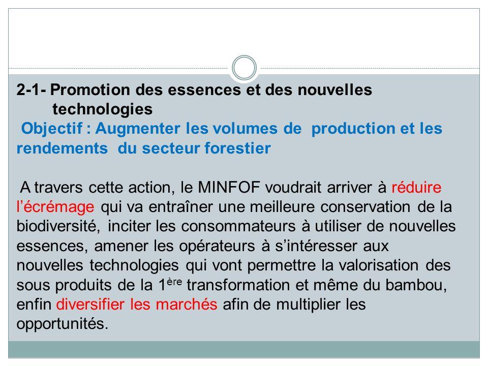 2-1- Promotion des essences et des nouvelles technologies Objectif : Augmenter les volumes de production et les rendements du secteur forestier A trav