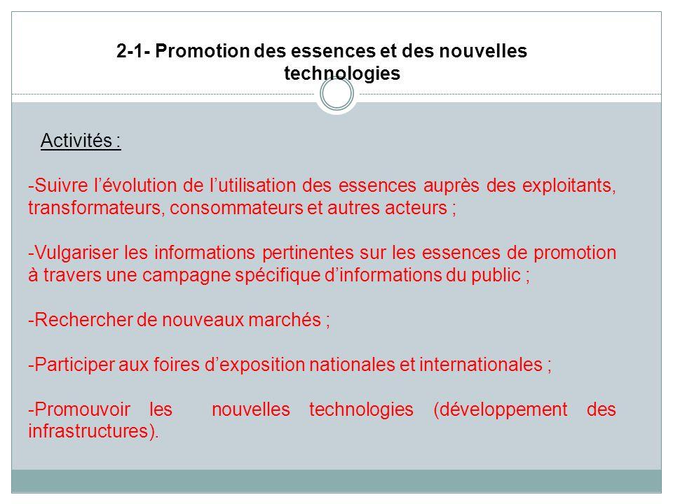 2-1- Promotion des essences et des nouvelles technologies Activités : -Suivre lévolution de lutilisation des essences auprès des exploitants, transfor