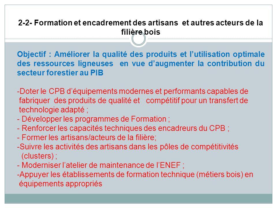 2-2- Formation et encadrement des artisans et autres acteurs de la filière bois Objectif : Améliorer la qualité des produits et lutilisation optimale