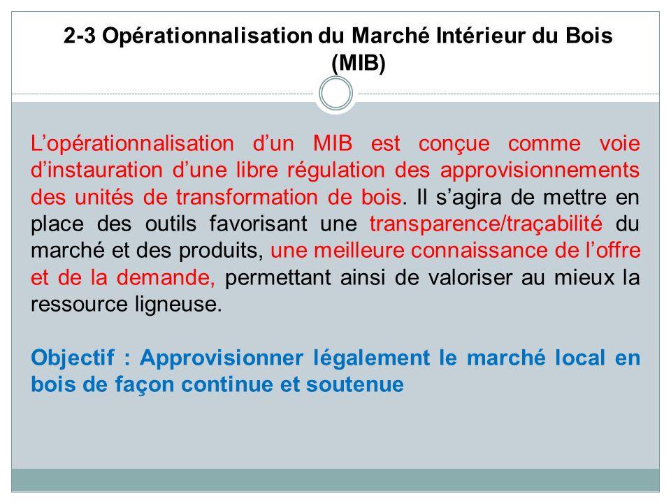 2-3 Opérationnalisation du Marché Intérieur du Bois (MIB) Lopérationnalisation dun MIB est conçue comme voie dinstauration dune libre régulation des a