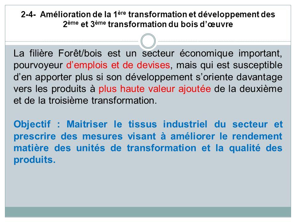 2-4- Amélioration de la 1 ère transformation et développement des 2 ème et 3 ème transformation du bois dœuvre La filière Forêt/bois est un secteur éc