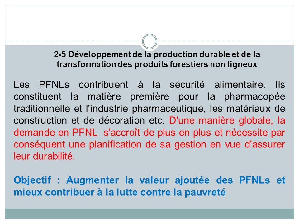 2-5 Développement de la production durable et de la transformation des produits forestiers non ligneux Les PFNLs contribuent à la sécurité alimentaire