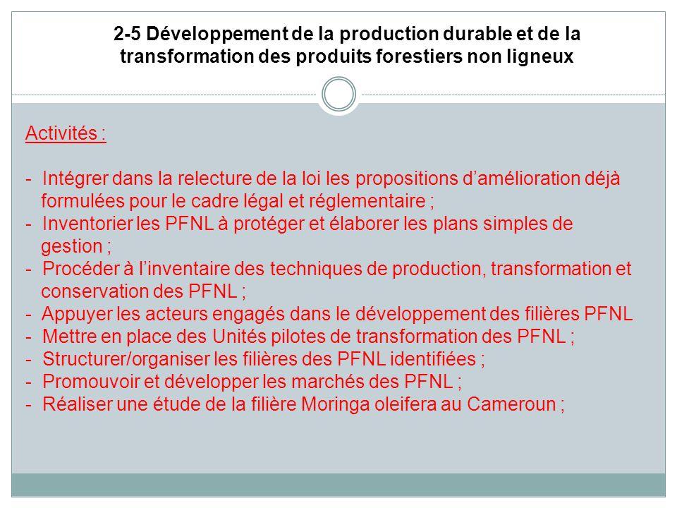 2-5 Développement de la production durable et de la transformation des produits forestiers non ligneux Activités : - Intégrer dans la relecture de la