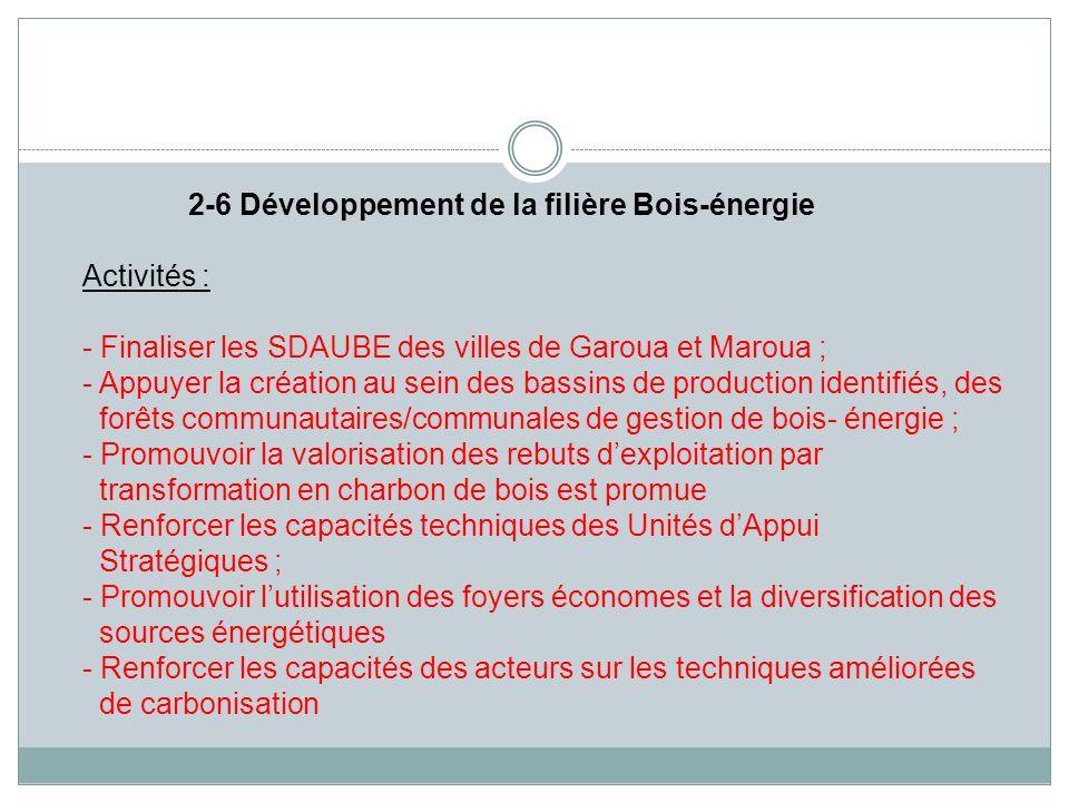 2-6 Développement de la filière Bois-énergie Activités : - Finaliser les SDAUBE des villes de Garoua et Maroua ; - Appuyer la création au sein des bas