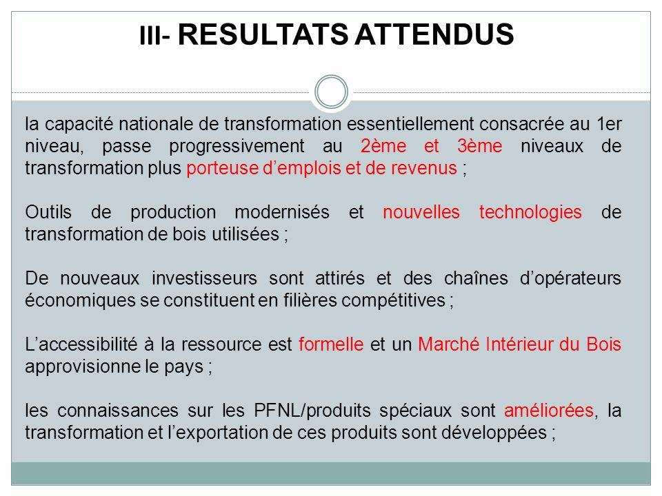 III- RESULTATS ATTENDUS la capacité nationale de transformation essentiellement consacrée au 1er niveau, passe progressivement au 2ème et 3ème niveaux