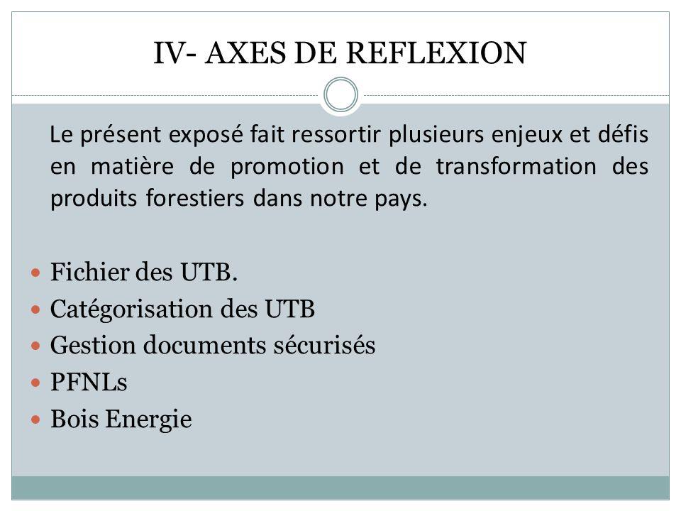 IV- AXES DE REFLEXION Le présent exposé fait ressortir plusieurs enjeux et défis en matière de promotion et de transformation des produits forestiers