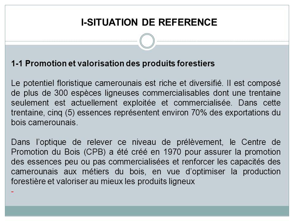 1-1 Promotion et valorisation des produits forestiers Le potentiel floristique camerounais est riche et diversifié. Il est composé de plus de 300 espè