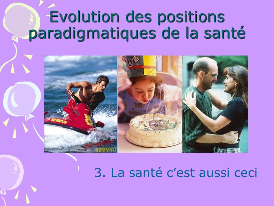 Evolution des positions paradigmatiques de la santé 3. La santé cest aussi ceci