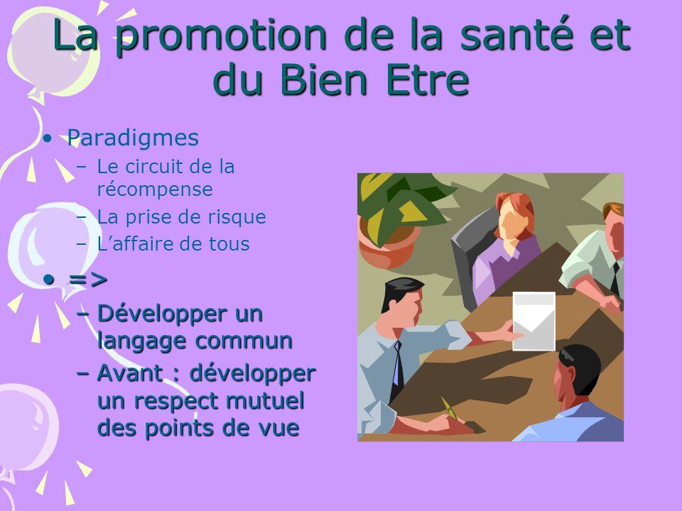 Promotion du Bien Etre Nouvelle position paradigmatique de la santé.
