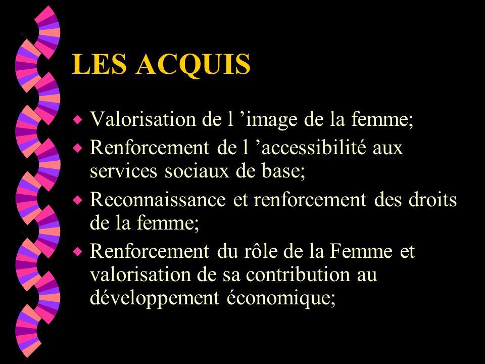 promouvoir les droits de la Femme et de l Enfant et veiller à leur respect; Veiller à ce que le cadre familial demeure un cadre déquilibre dans les relations sociales