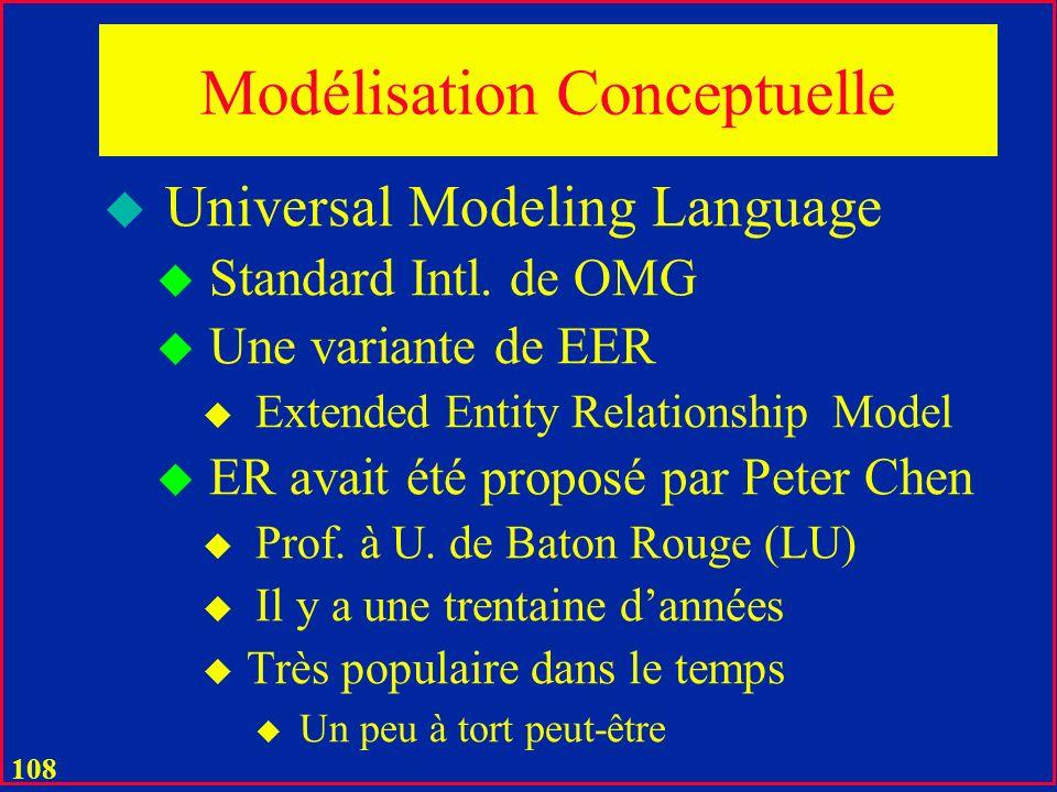 107 Modélisation Conceptuelle u Univers u Objets u Entités u Propriétés u Associations entre les objets u Fonctions… u Ensembles spécifiques dobjets u