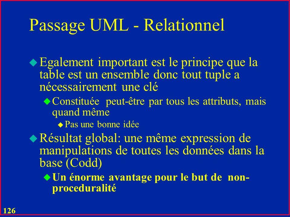 125 Passage UML - Relationnel u Les associations sont les tables comme les autres ou existent entre les valeurs des attributs comme les autres (Codd)