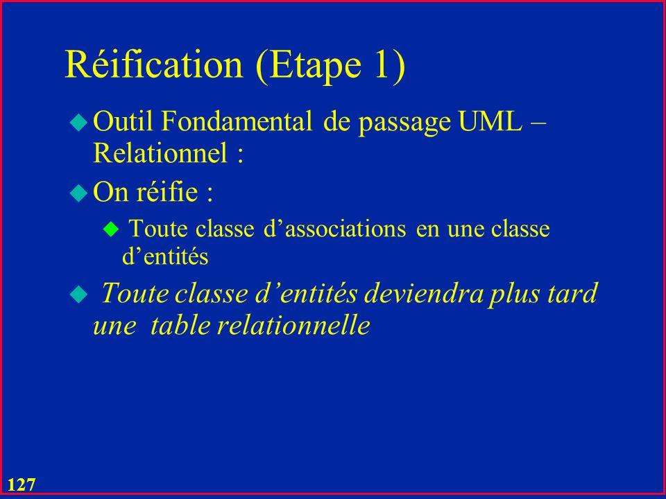 126 Passage UML - Relationnel u Egalement important est le principe que la table est un ensemble donc tout tuple a nécessairement une clé u Constituée