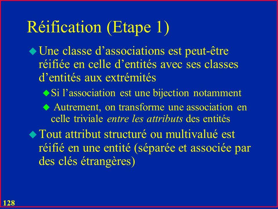 127 Réification (Etape 1) u Outil Fondamental de passage UML – Relationnel : u On réifie : u Toute classe dassociations en une classe dentités u Toute