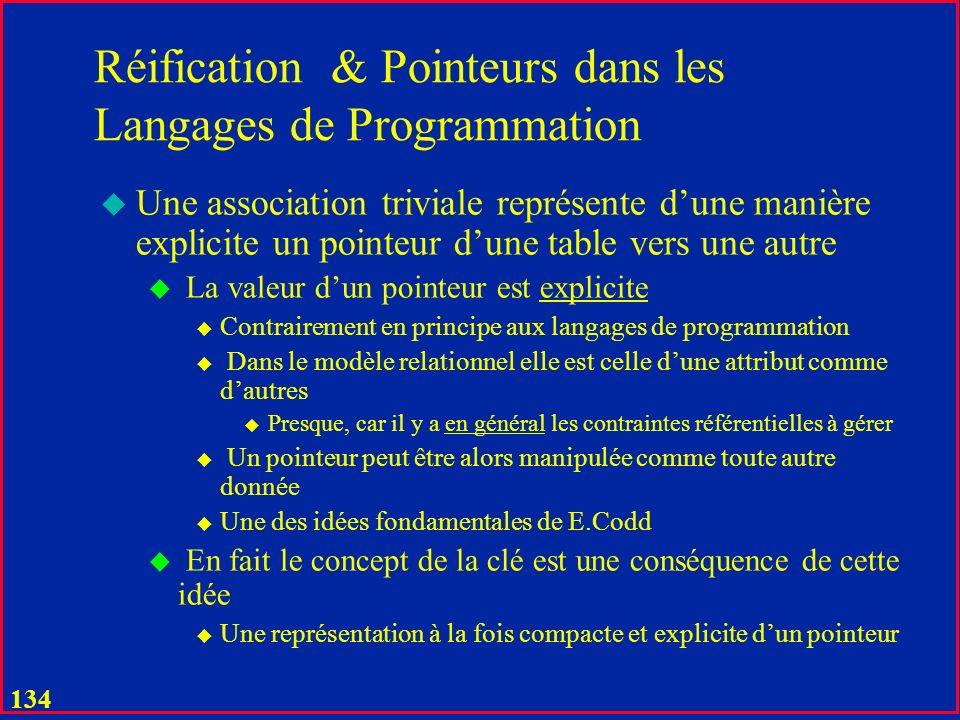 133 Réification : Principe Général A A# A1 …. B B# B1 …. C RoleA# RoleB# C1 …. Après, oui, notamment pour lintégrité référentielle en utilisant le nom