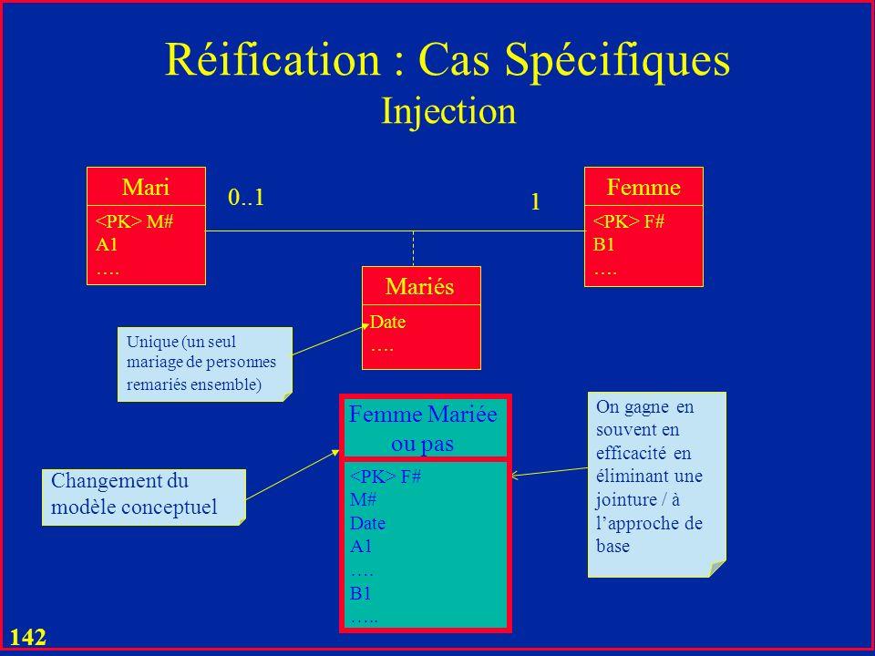 141 Réification : Cas Spécifiques Bijection Client C# A1 …. Voiture V# B1 …. Accident Date …. 1 1 On mémorise tous les accidents dun client avec sa vo