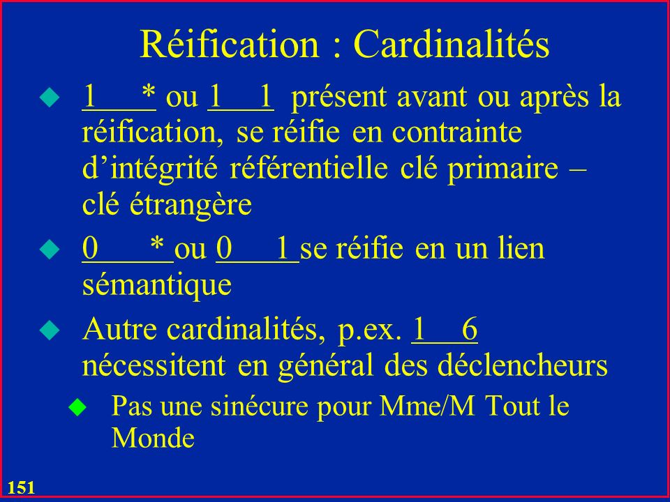 150 Réification : Autres Cas u Le « jeu de clés » en général facile à voir de diagrammes UML u Agrégation u Composition u Associations 1-ères u Sauf c
