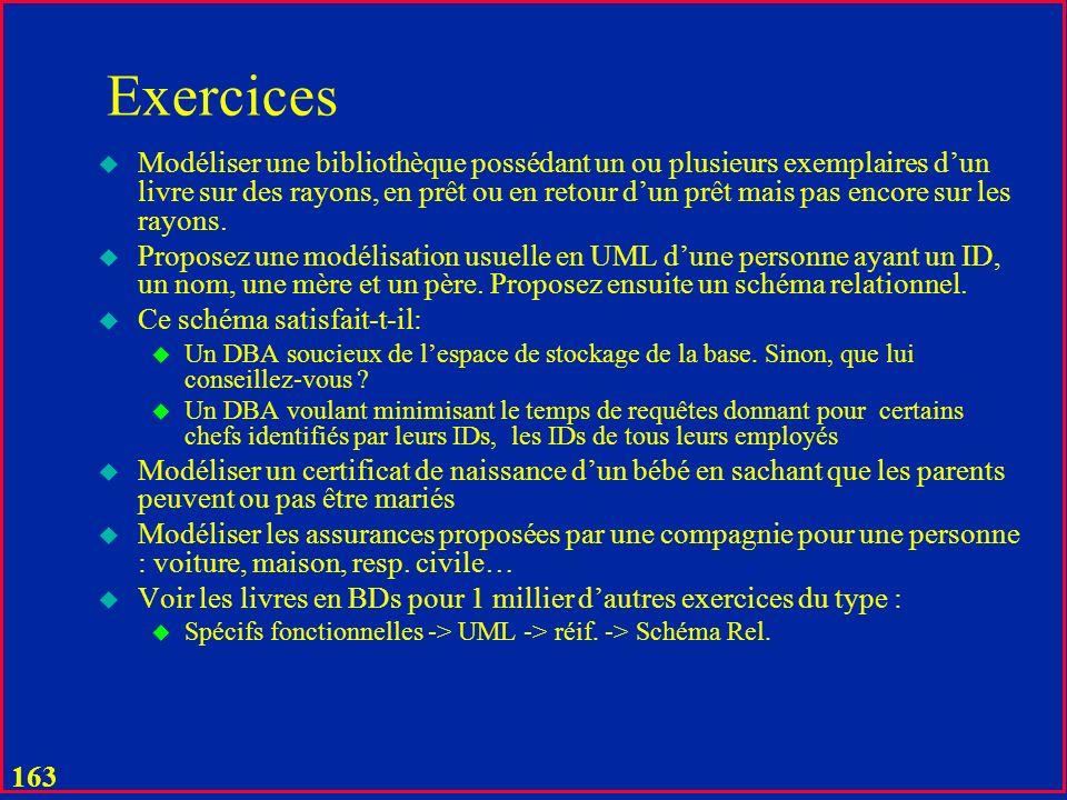162 Exercices u Proposer les schémas relationnels pour les exemples en cours u Modéliser en UML et en relationnel un livre typique u Modéliser en UML