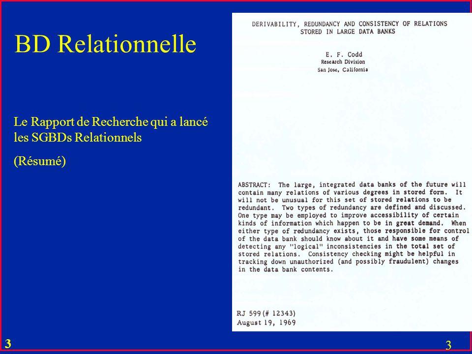 2 2 Le Rapport de Recherche qui a lancé les SGBDs Relationnels (publié uniquement en interne à IBM Almaden Research Center (CA) BD Relationnelle