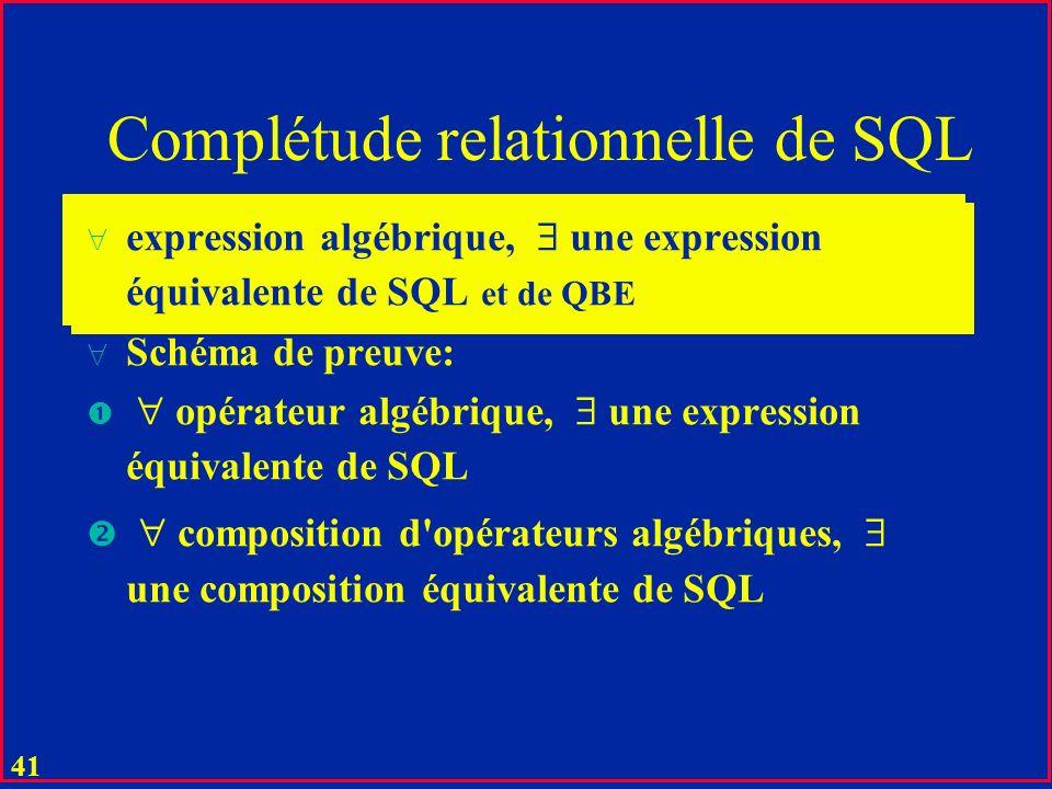 40 Opérations relationnelles (SQL) Voit (Im#, Pref, Mod, Couleur) Amende (A#, I#, Nom, Addr, Payé) u Select * From Voit ; u Select Mod From Voit Where