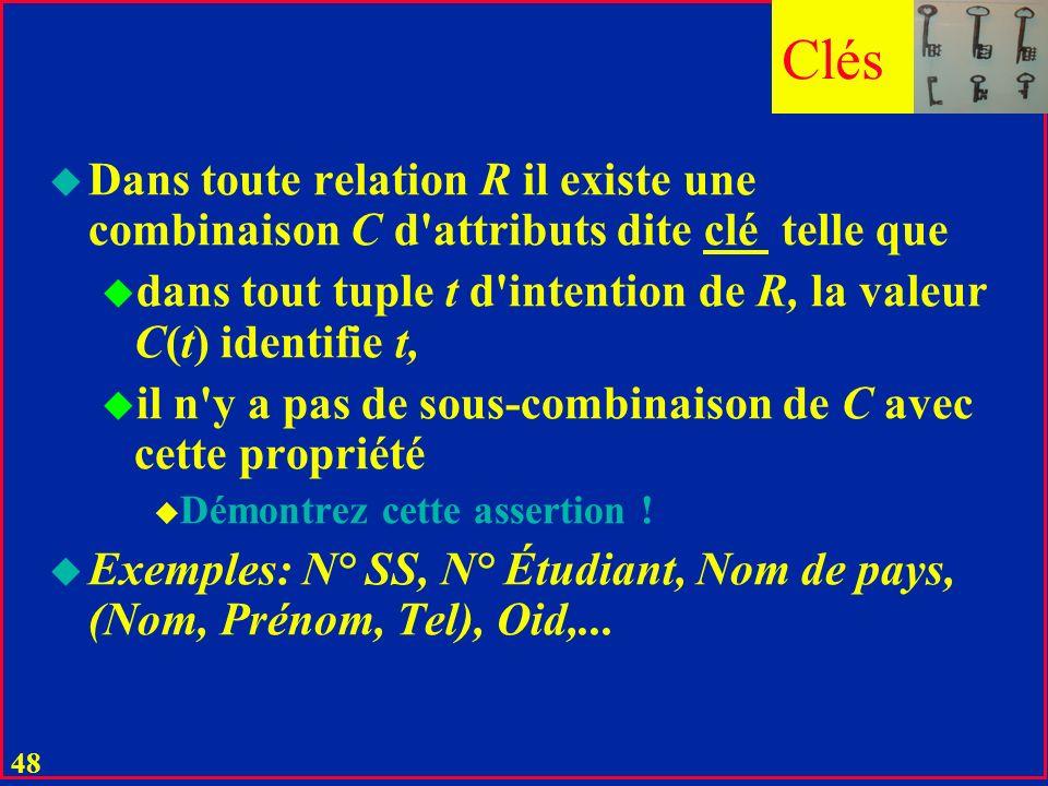 47 Et la Manipulation ? u Le problème reste ouvert dans le relationnel de base u SELECT E#, Tel, Hobby, Dipl, Enfants, Voit FROM R1, R2…Rn WHERE… u Pr