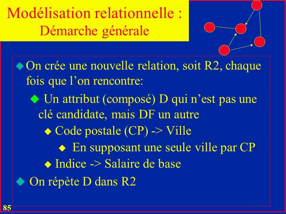 84 u Dans notre exemple, on aurait u PT (P#, Tél) u PE (P#, Email) u PD ((P#, Dipl) u Il y aurait un tuple par élément de liste u La décomposition san