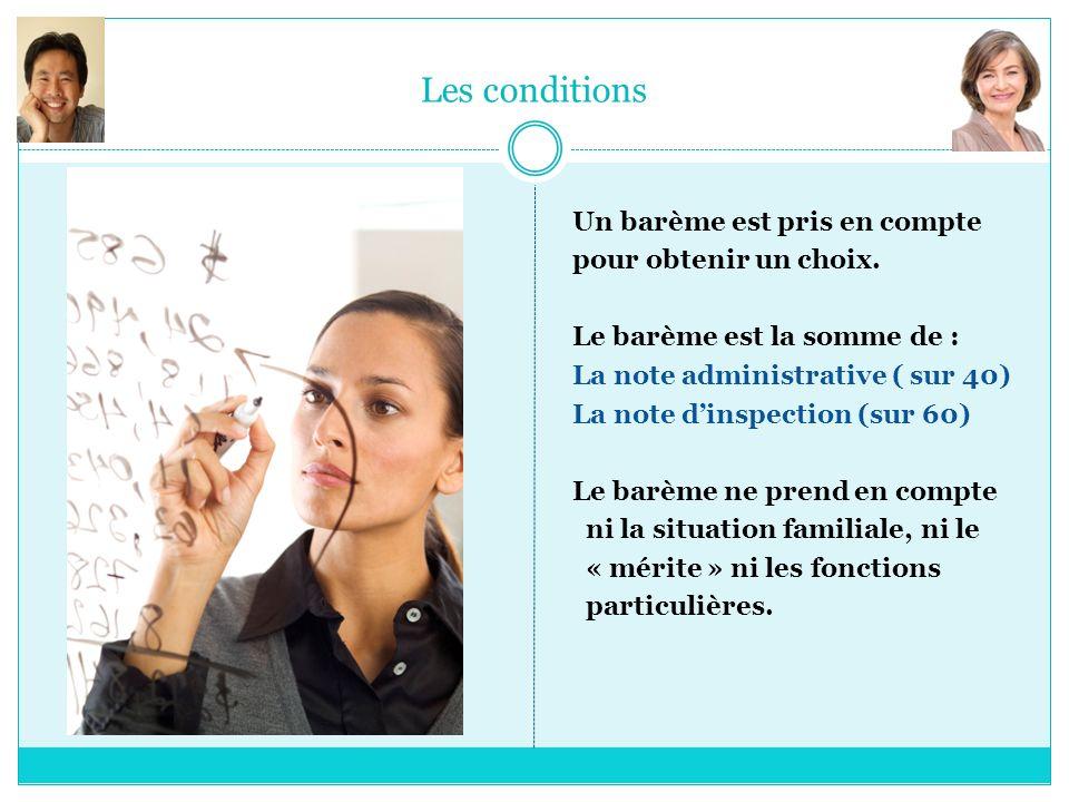 Les conditions Un barème est pris en compte pour obtenir un choix. Le barème est la somme de : La note administrative ( sur 40) La note dinspection (s
