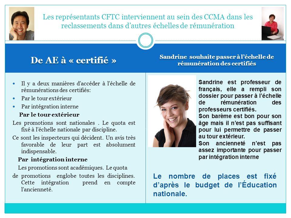 De AE à « certifié » Sandrine souhaite passer à léchelle de rémunération des certifiés Il y a deux manières daccéder à léchelle de rémunérations des c