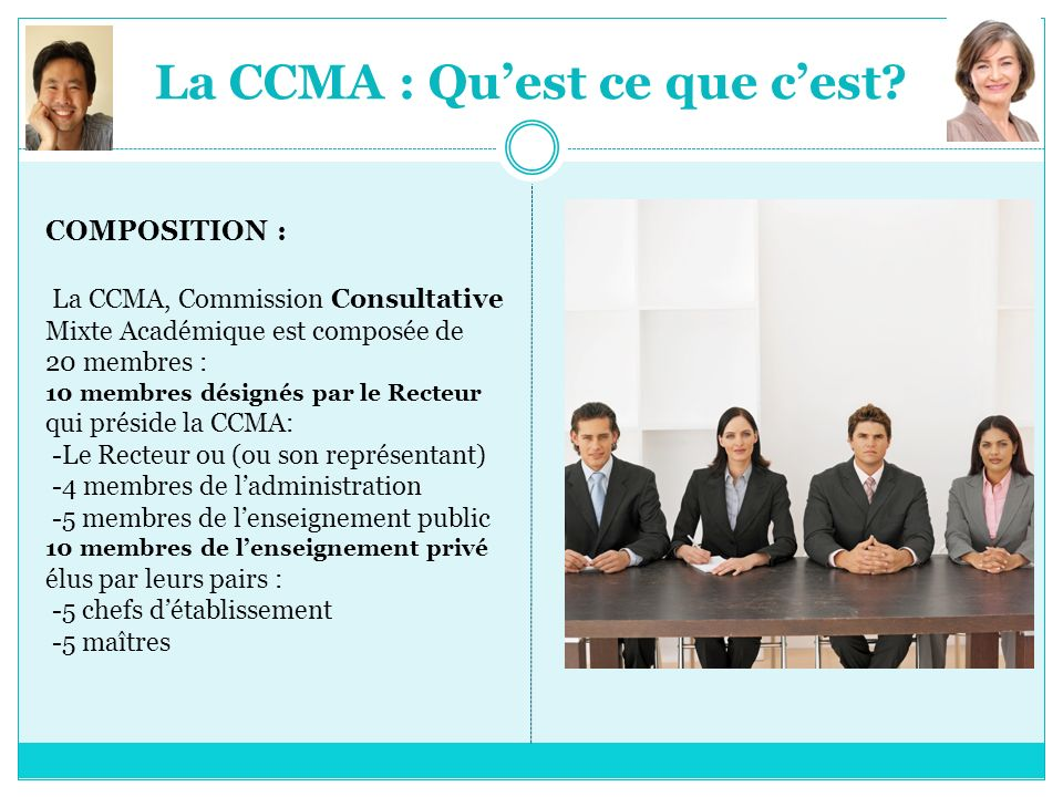 La CCMA : Quest ce que cest? COMPOSITION : La CCMA, Commission Consultative Mixte Académique est composée de 20 membres : 10 membres désignés par le R