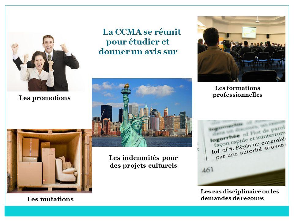 La CCMA se réunit pour étudier et donner un avis sur Les promotions Les formations professionnelles Les mutations Les indemnités pour des projets cult