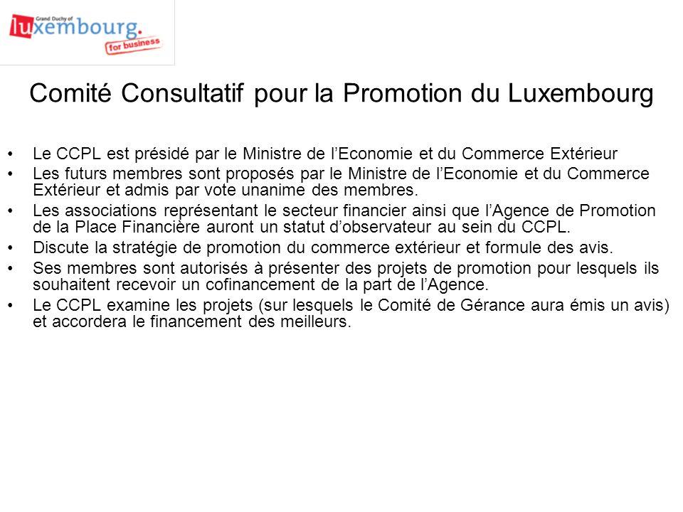 Comité Consultatif pour la Promotion du Luxembourg Le CCPL est présidé par le Ministre de lEconomie et du Commerce Extérieur Les futurs membres sont proposés par le Ministre de lEconomie et du Commerce Extérieur et admis par vote unanime des membres.