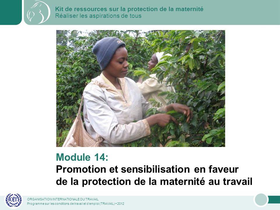 ORGANISATION INTERNATIONALE DU TRAVAIL Programme sur les conditions de travail et demploi (TRAVAIL) 2012 Module 14: Promotion et sensibilisation en faveur de la protection de la maternité au travail Kit de ressources sur la protection de la maternité Réaliser les aspirations de tous