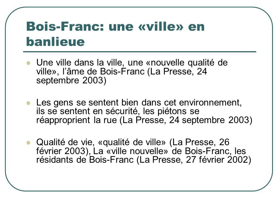Bois-Franc: une «ville» en banlieue Une ville dans la ville, une «nouvelle qualité de ville», lâme de Bois-Franc (La Presse, 24 septembre 2003) Les ge