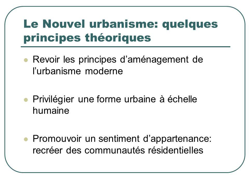 Le Nouvel urbanisme: quelques principes théoriques Revoir les principes daménagement de lurbanisme moderne Privilégier une forme urbaine à échelle hum